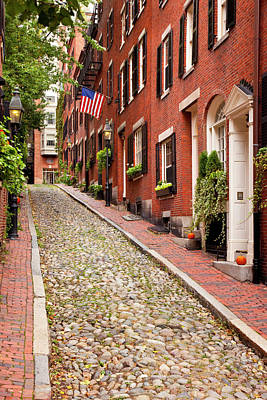 Famous Acorn Street In Beacon Hill Poster by Brian Jannsen