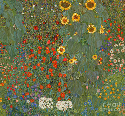 Farm Garden With Sunflowers Poster by Gustav Klimt