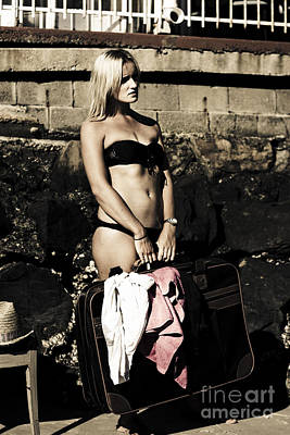 Female Adult Holding Suitcase On Retro Holiday Poster by Jorgo Photography - Wall Art Gallery