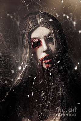 Female Face Of Dark Horror. Eye Of The Black Widow Poster by Jorgo Photography - Wall Art Gallery
