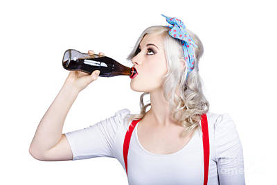 Fifties Pin-up Promo Woman Drinking Soft Drink Poster by Jorgo Photography - Wall Art Gallery