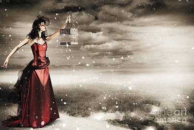Fine Art Photo Of A Beautiful Winter Fashion Woman Poster by Jorgo Photography - Wall Art Gallery
