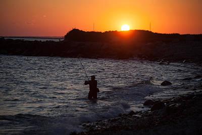 Fishing At Sunset Poster by Karol Livote
