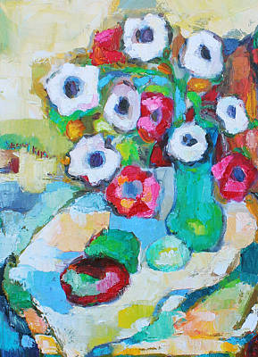 Flowers In Green Vase Poster by Becky Kim