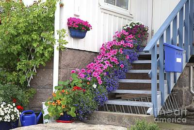 Flowers On Porch Stairs Poster by Bjorn Svensson