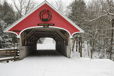 Flume Covered Bridge - White Mountains New Hampshire Usa Poster by Erin Paul Donovan