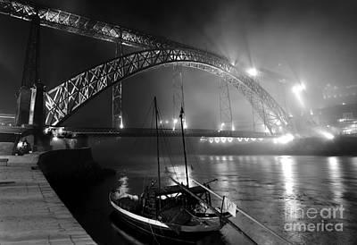 Fog Over The Pier And Iconic Bridge - O Porto - Portugal Poster by Carlos Alkmin