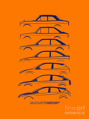 Ford Escort And Focus Silhouettehistory Poster by Gabor Vida