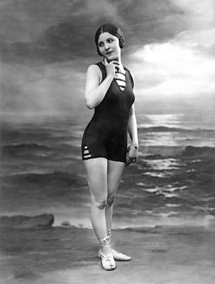 French Woman In A Bathing Suit Poster by Underwood Archives