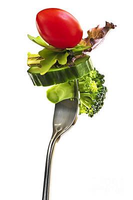Fresh Vegetables On A Fork Poster by Elena Elisseeva