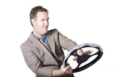 Frustrated Businessman Driving Poster by Jorgo Photography - Wall Art Gallery