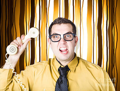 Frustrated Male Office Worker Yelling With Phone Poster by Jorgo Photography - Wall Art Gallery