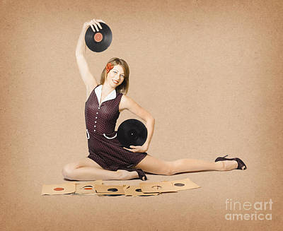 Glamorous Pinup Girl Holding Vinyl Lp Records Poster by Jorgo Photography - Wall Art Gallery