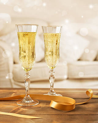 Glasses Of Champagne Poster by Amanda Elwell