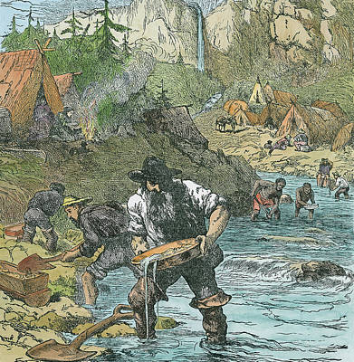 Gold Washing In California, From A Book Poster by American School