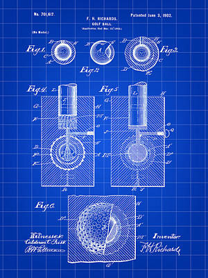 Golf Ball Patent 1902 - Blue Poster by Stephen Younts