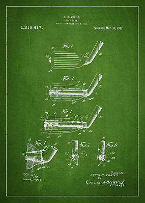 Golf Club Patent Drawing From 1917 Poster by Aged Pixel