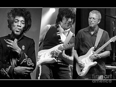 Guitar Legends Jimi Hendrix Jeff Beck And Eric Clapton Poster by Marvin Blaine