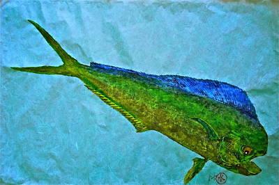 Gyotaku - Mahi Mahi - Dorado - Dolphinfish Poster by Jeffrey Canha