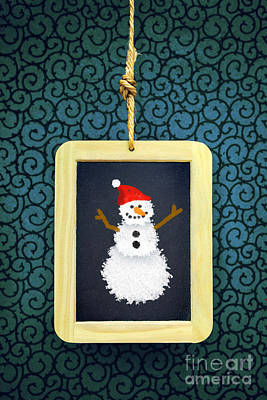 Hanged Xmas Slate - Snowman Poster by Carlos Caetano