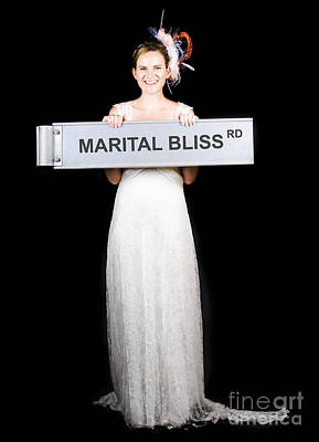 Happy Bride On The Road To Marital Bliss Poster by Jorgo Photography - Wall Art Gallery
