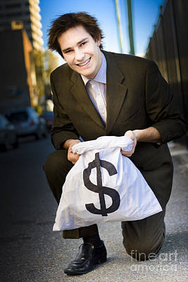 Happy Business Man Smiling With Money Bag Poster by Jorgo Photography - Wall Art Gallery