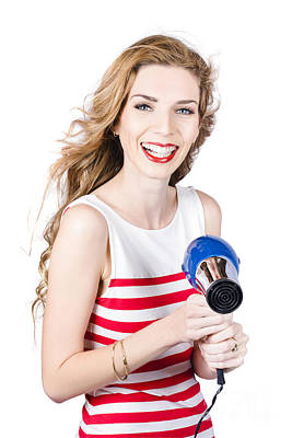 Happy Female Hairdresser Holding Hairdryer Poster by Jorgo Photography - Wall Art Gallery