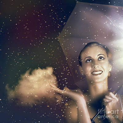 Happy Woman Walking Outside On A Rainy Summer Day Poster by Jorgo Photography - Wall Art Gallery