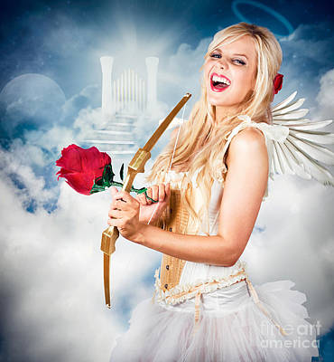 Heavenly Angel Of Love With Flower Arrow Poster by Jorgo Photography - Wall Art Gallery