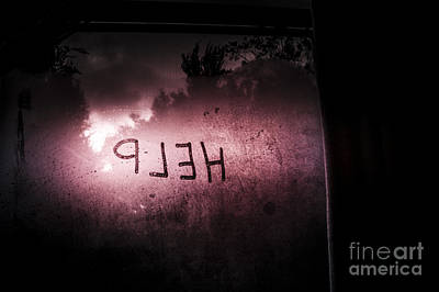 Help Written On A Misty Glass Window. No Escape Poster by Jorgo Photography - Wall Art Gallery