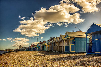 Herne Bay Beach Huts Poster by Ian Hufton