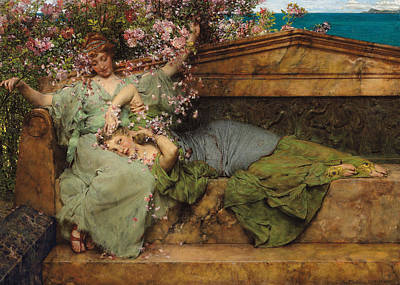 In A Rose Garden Poster by Sir Lawrence Alma Tadema