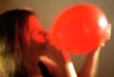 Inhaling Nitrous Oxide From A Balloon Poster by Cordelia Molloy