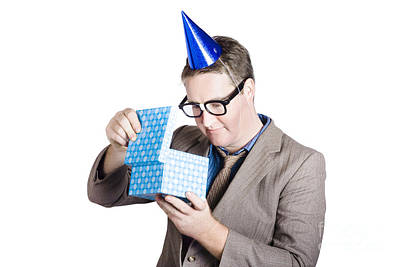 Isolated Businessman In Party Hat. Business Bonus Poster by Jorgo Photography - Wall Art Gallery