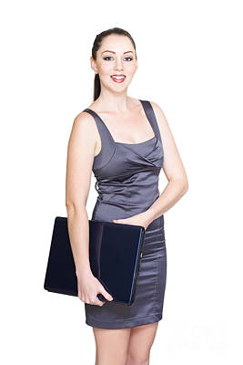 Isolated Smiling Business Woman Carrying Laptop Poster by Jorgo Photography - Wall Art Gallery