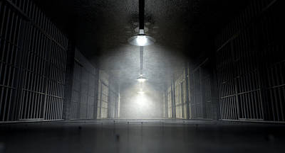 Jail Corridor And Cells Poster by Allan Swart