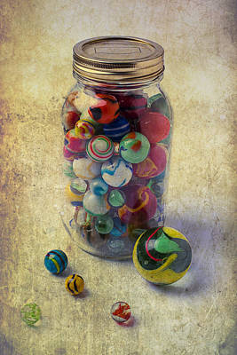 Jar Of Marbles Poster by Garry Gay
