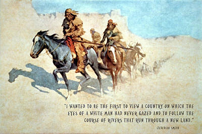Jedediah Smith Crossing The Mojave Desert Poster by Frederic Remington