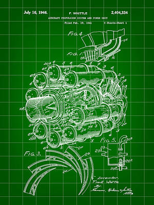 Jet Engine Patent 1941 - Green Poster by Stephen Younts