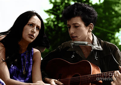 Joan Baez With Bob Dylan Poster by Celestial Images