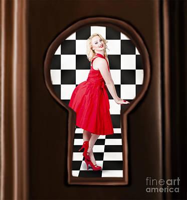 Keyhole Retro Fashion Portrait Of Stylish Girl Poster by Jorgo Photography - Wall Art Gallery