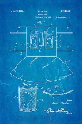 Kroha Beauty Mask Patent Art 2 1933 Blueprint Poster by Ian Monk
