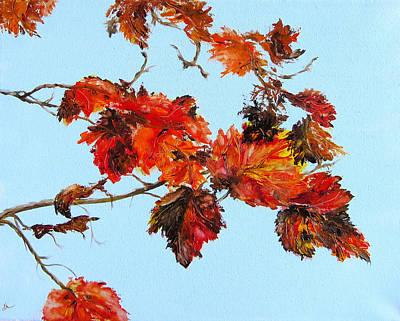 Leaves Against The Sky Poster by Diane Kraudelt
