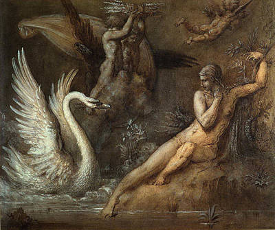 Leda And The Swan Poster by Gustave Moreau