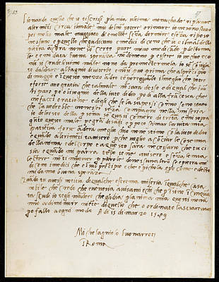 Letter Of Michelangelo Poster by British Library
