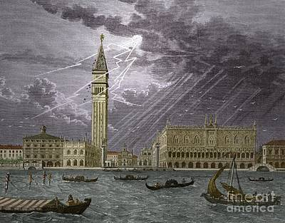 Lightning Striking St, Marks Tower 1745 Poster by Sheila Terry