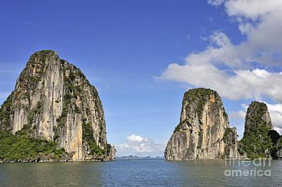 Limestone Karst Peaks Islands In Ha Long Bay Poster by Sami Sarkis