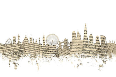 London England Skyline Sheet Music Cityscape Poster by Michael Tompsett