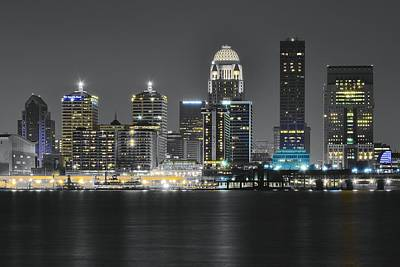 Night Lights Of Louisville Poster by Frozen in Time Fine Art Photography
