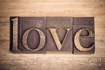 Love In Printing Blocks Poster by Jane Rix